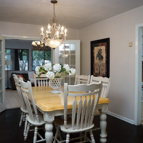 Dining Room with family room view