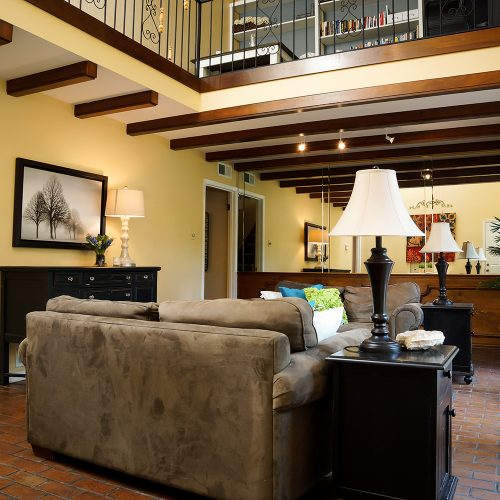 Living Room with elevated loft
